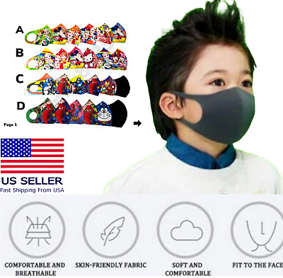 6-pcs Boys Girls Child Reusable Washable Face Mask Breathable Mouth/Nose US SHIP