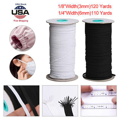 "Flat Braided Elastic Band 1/8"" (3mm) width White/Black 120 yards,US Stock"