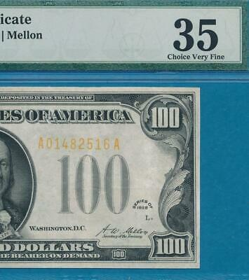 $100. 1928 Gold Seal Gold Certificate Beautiful Pmg Vf35 No Comments