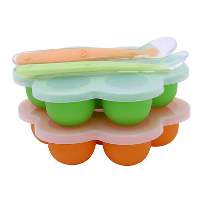 Silicone Homemade Baby Food Storage Container Freezer Tray Resuable with Spoons