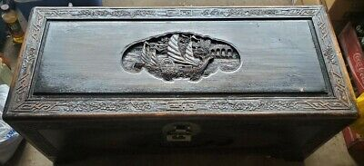 Oriental Hand Carved ANTIQUE WOODEN Camphor Chest Trunk