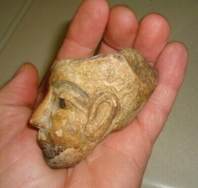 Egyptian Akhenaten Ancient Stone Head w Color Pigments 18th Dynasty