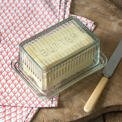 Farmhouse Vintage Style Glass Covered Butter Dish Double Wide and Double High