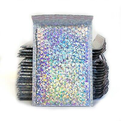 50 Holographic Bubble mailers usable size 6 x 9 in Padded envelopes shiny silver