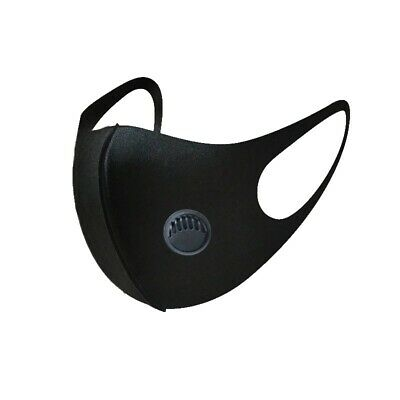 Black Fashion Washable Mask Reusable With Vent Light Weight/ Breathable/ Unisex