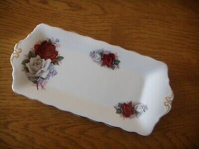 Vintage Queen Anne Bone China Duet Pattern (Roses) Oblong Sandwich Tray/Plate.