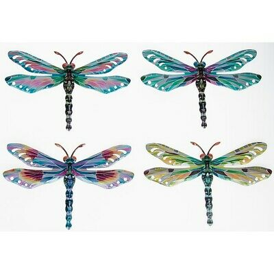 Set 4 Colourful Metal Dragonflies Garden Fence Wall Decoration Plaque 201111