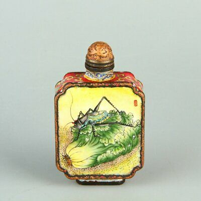 Chinese Exquisite Handmade insect fruit copper Enamel snuff bottle