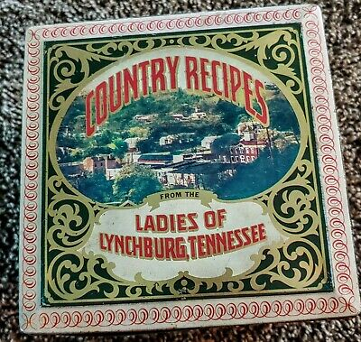 LADIES OF LYNCHBURG TENNESSEE COUNTRY RECIPIES - HINGED TIN RECIPE BOX FILE 70's