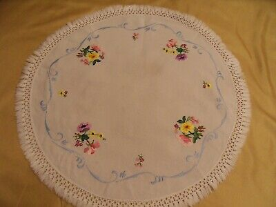 Pretty Hand Embroidered Round Table Centre