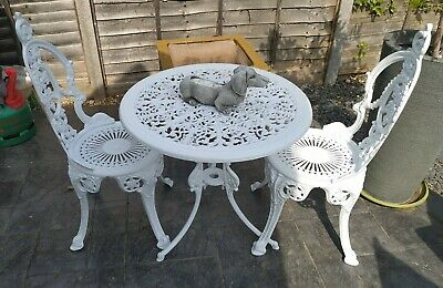 Vintage Aluminium Garden Round Table & Chairs Victorian Style Heavy Quality