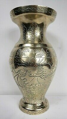 "Large Chinese Antique Ming Dynasty Brass Vase - 12"" - Dragon Motif"