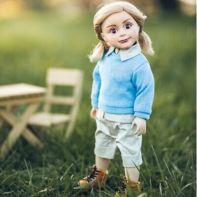 18 In Doll Clothes 6 PC Set,Shorts,Shirt,Sweater, Hiking Boots Fit American Girl