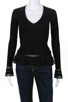 Ralph Lauren Black Label Womens Ribbed Lace V-Neck Top Black Size Small