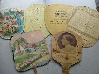 Lot of SIX Vintage Fans - Advertising & Otherwise