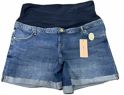 Ladies size 16 Blue denim MATERNITY over the belly SHORTS Target Mid Wash  NEW