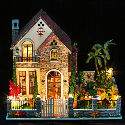 3D Wooden LED Dollhouse Miniature Furniture Doll House DIY Kit Children Toy Gift