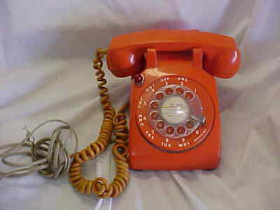 "Vintage Rotary Dial  Orange Color "" Motel Phone """