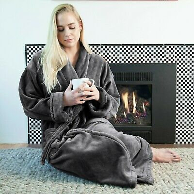 Royal Grand Velour Unisex Bathrobe With Warm And Absorbent Terry Cloth Interior