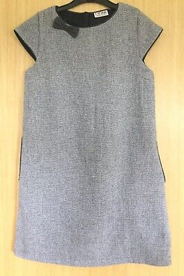 Next Girls Dress Age 11 Grey Boucle Bow Smart Occasion New With Tags £27 Pockets