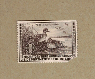 US Federal Duck Hunting Revenue Stamp 1939 RW6 $1 Green-winged Teal PRE OWNED