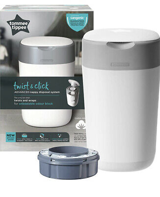 Tommee Tippee Twist And Click Advanced Nappy Disposal Sangenic Tec Bin Blue