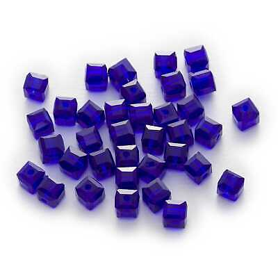 50 pieces 6mm Crystal Glass Square A3051 Cube Beads Amethyst