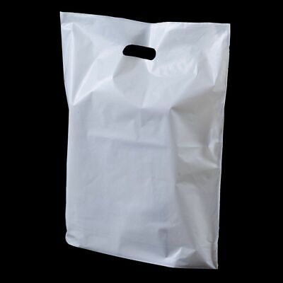 """Strong White Plastic 10""""/15""""/22"""" Carrier Bags Patch Handle"""