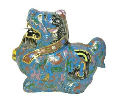 """Vintage Chinese 6.5"""" Brass Cloisonne Blue Foo Dogs Figure 