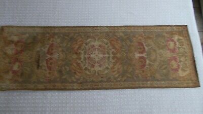 Antique victorian table runner, woven flower print with velvet lining, golds and