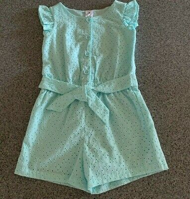 Girls size 7  Green lined playsuit  jumpsuit jump play suit BRODERIE Target NEW