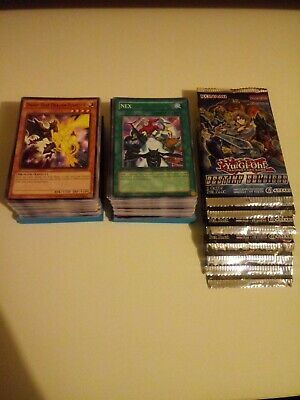 200 Yugioh Card Lot - No Duplicates - And 7 Sealed Yu-Gi-Oh Booster Pack Lot