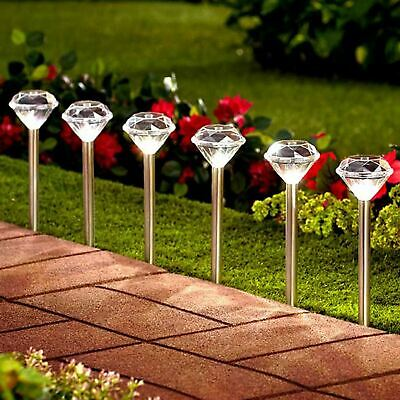 10 x STAINLESS STEEL SOLAR POWERED DIAMOND STAKE LIGHTS GARDEN BORDER LANTERNS