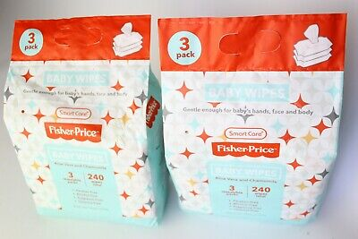 Lot 2 Bundle Fisher-Price Baby Wipes Total Aloe Vera & Chamomile Wipes 480 Wipes