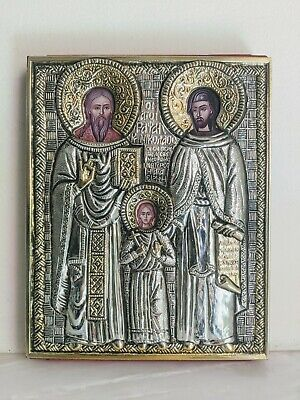 S. Silver and gold plated Greek Orthodox icon Saints Nicholas, Raphael and Irene