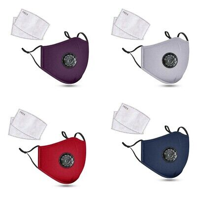 Air Purifying Face Mask Carbon Filter Vented Face Mask Respirator Washable US YL