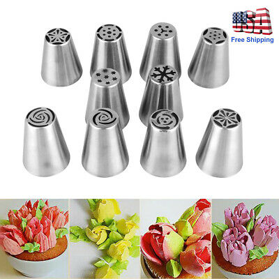 10pcs/set Icing Russian Piping Nozzle Stainless Cake Decorating Tool Kitchen DIY