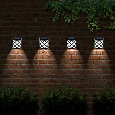 4 x Solar Powered Outdoor Garden Shed Door Fence Wall Led Lights Bright Lighting