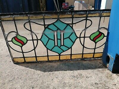 Set Of Three Stained Glass Leaded Window Panels