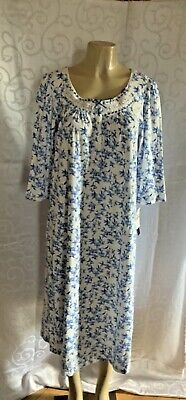 $ 68   Aria Womens Long Sleeve  Stretch Nightgown  Blue Floral. Print Size S