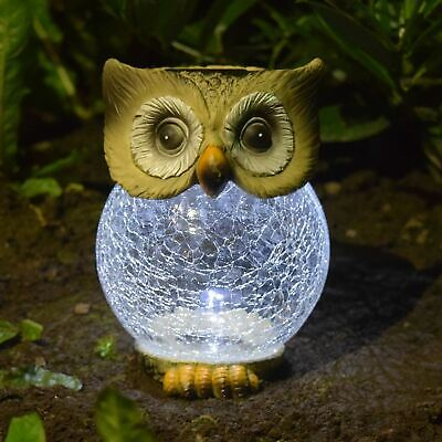 Solar Powered Novelty Owl Ornament With Crackle Ball Led Light Outdoor Garden