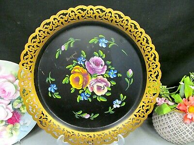 Vintage Metal hand painted tea tray artist signed roses pattern open edges