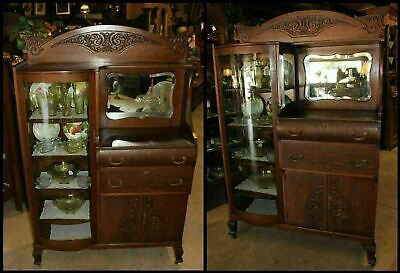 Tiger Oak Carved Lion Head Curve Glass Bevel Mirror Display China Buffet Antique