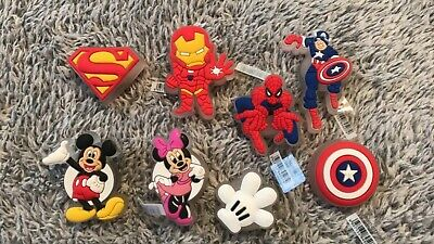 New 3D Led Croc Charms / Jibbitz *Super Heros , Minnie Mouse , Mickey Mouse
