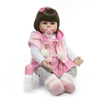 Real life 24inch Toddler Reborn Baby Dolls Cute Silicone Body Lifelike Long Hair