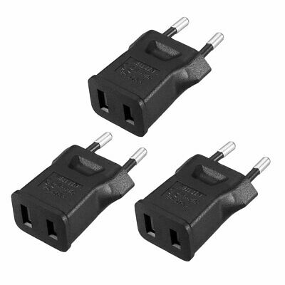 Macho EU Enchufe to Hembra US Enchufe AC Adaptador Corriente Conversor Negro 3Pz