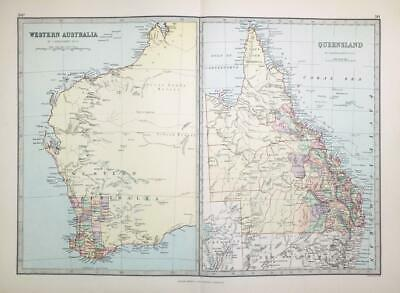 1883 - Large Antique Colour Map of WESTERN AUSTRALIA QUEENSLAND   (PHA)