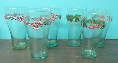 Vintage 6 Pc Set Coca Cola Libbey Christmas Holiday Holly Tumblers Drinking Glas