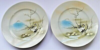 Antique Japanese Decorative Small Plate Pair Hand Painted Cranes & Mount Fuji