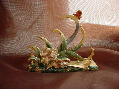 Shabby Floral Enameled Business Card Holder Butterfly